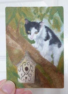 ACEO Miniature Original Painting Art Card -Cat-Black-White-Birdhouse- Joanne P
