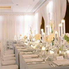 decoracion mesa blanco y velas