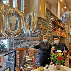 "Jeannie turns 100! Our resident of 11 years here at Lake Bonavista Village in Calgary celebrates her 100th birthday in style! Her secret - ""more joy, less worry!"" 😄🎂 #vervecares #community #goodtimes #birthday #celebration"