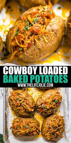 This BBQ Loaded Baked Potato Recipe is an easy throw-together dinner that's also an excellent way to repurpose leftovers. Full of all the delicious BBQ flavors we all know and love, this is a total weeknight winner! Bbq Baked Potatoes, Stuffed Baked Potatoes, Baked Potato Recipes, Pork Recipes, Gourmet Recipes, Cooking Recipes, Chili Baked Potato, Vegan Baked Potato, Recipies
