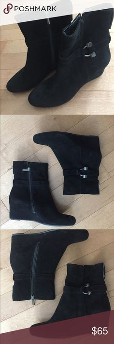 Bandolino Black Suede Booties Never worn, no tags or box. Artura wedge boots. Bandolino Shoes Ankle Boots & Booties