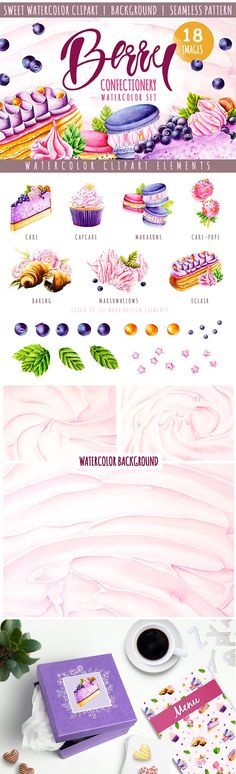 Sweet watercolor clipart (18 items) by Veronika S. on @creativemarket