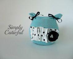 Upcycled  Aqua Baby Hat on Etsy