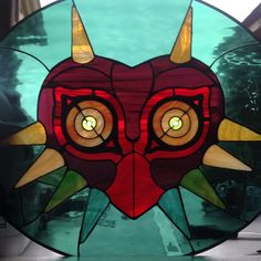 Majora's Mask inspired stained glass by stainedglassgeek on Etsy Stained Glass Crafts, Stained Glass Designs, Zelda Gifts, Glassy Eyes, Majora Mask, Origami, Geek Cave, Nerd Art, Types Of Art