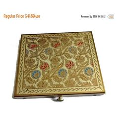 SALE Floral Enamel Compact, Medieval Style 40's Vintage Powder Compact Flowers Crowns, Art Deco Vanity Case, Renaissance Beauty Collectible (50 CAD) found on Polyvore featuring beauty products