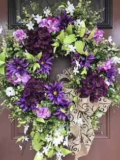 Hydrangea Wreath, Eucalyptus Wreath, Elegant Wreath, Spring Wreath, Front Door Wreath, Purple Wreath, Summer Wreath ~~~~~ships within 2 business days~~~~~ This wreath turned out so pretty! It features a beautiful vibrant mix of colors for spring through summer! There are deep purple