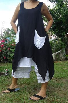 Black cotton pixie layers mini dress by rushtar on Etsy, $38.00