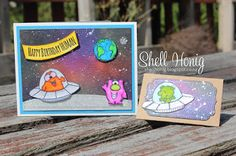 Gerda Steiner Alien Invasion, Zig clean color markers, Galaxy background, Cards Lawn Fawn small stitched envelope die