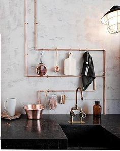 exposed copper pipes