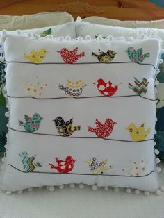 "Items similar to bicycle pillow case cushion cover cath kidston other fabric home decor unique handmade applique birthday gift 16 ""x on etsy : Almofadas Cute Pillows, Diy Pillows, Decorative Pillows, Cushions, Throw Pillows, Fabric Crafts, Sewing Crafts, Sewing Projects, Sewing Diy"