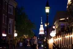 on the town -  Harvard Square at night