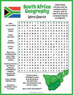 No Prep South Africa Word Search Africa Activities For Kids, Kids Travel Activities, Book Activities, Geography Lessons, Teaching Geography, African Words, Africa Craft, South African Flag, Africa Flag