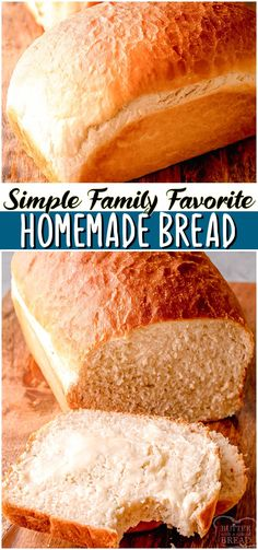 Homemade White Bread made with flour, yeast, butter & a bit of sugar and salt. Classic bread recipe that yields 2 loaves of homemade white bread perfect for toast & sandwiches. #bread #howtomakebread #homemade #baking #yeast #easyrecipe from BUTTER WITH A SIDE OF BREAD