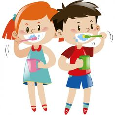 Kids brushing their teeth Free Vector Red And White Wallpaper, Tooth Cartoon, Dental Humor, Oral Hygiene, Dental Health, Kids Playing, Cute Pictures, Teeth, Vector Free