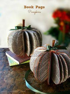 DIY Book Page Pumpkins at sewlicioushomedecor.com