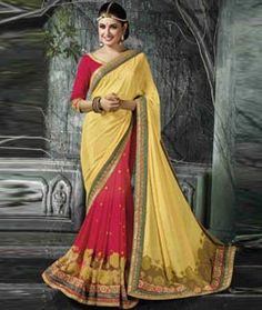 Buy Yellow Chinon Chiffon Half and Half Saree 77010 with blouse online at lowest price from vast collection of sarees at Indianclothstore.com.