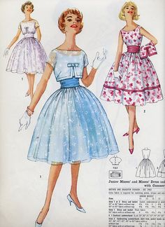 50 ~ I remember making a dress from this pattern ~ loved it Vintage Fashion 1950s, Fashion Illustration Vintage, Vintage Couture, Retro Fashion, Victorian Fashion, Fashion Fashion, Dress Making Patterns, Vintage Dress Patterns, Vintage Style Dresses