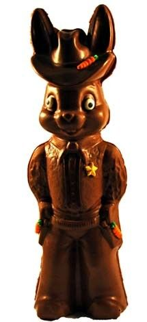 It's a 2-Pound Chocolate Cowboy Bunny made from an authentic vintage chocolate mold. Talk about an Easter surprise!