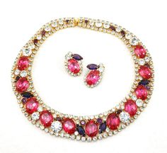 Exquisite Vintage D&E JULIANA Pink Collar Bib Necklace Earring Demi-Parure - Magnificent Runway Showstopper! $595.99