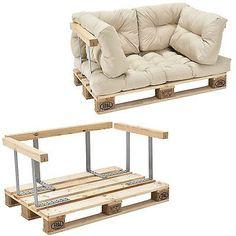 [en.casa] Euro Paletten Sofa Beige Armlehne 2-Sitzer Palettenpolster Kissen