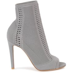 Gianvito Rossi Vires grey stretch-knit ankle boots ($890) ❤ liked on Polyvore featuring shoes, boots, ankle booties, gray ankle boots, high heel booties, bootie boots, gray booties and ankle boots
