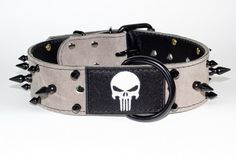 "Punisher Dog Collar - Leather Dog Collar - 2"" Grey Suede Spiked Leather Dog Collar With Embroidered Punisher Patch"