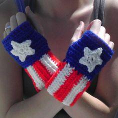 Crochet Captain America Fingerless Gloves by inspiredbyfandom