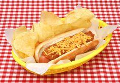 chili dog street food junk food hot dog potato chips lays picnic table