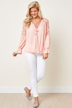 Heart Stopping Light Pink Lace Top at reddressboutique.com
