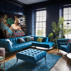 Teal Living Room Furniture, Art Deco Living Room, Blue Living Room Decor, Home Living Room, Living Room Designs, Dark Teal Living Room, Bedroom Furniture, Teal Sofa, Teal Velvet Sofa