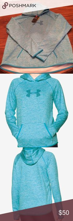 Under Armour Storm Armour Logo Hoodie Polyester. Attached hood with cross-over neck. Pullover styling. Long raglan sleeves with thumb holes. Kangaroo pocket. Water repellent UA storm technology. Armour fleece technology with a soft brushed back and smooth outer layer. Signature moisture transport system to help keep you dry. Binding at cuffs and hem. Loose, relaxed fit. Hits at hip. Under Armour Tops Sweatshirts & Hoodies