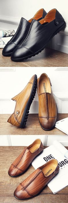Men Stitching Cap-toes Vintage Special Pattern Slip-on Casual Loafers