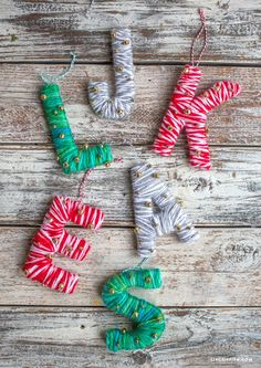 Yarn Monogrammed Letter! Easy DIY hostess gift. We completely fell in love with the gorgeous monogram ornaments over at Anthropologie and decided to make our own hack version using basic materials we found at Michaels.
