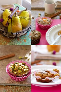 Chai Carrot Pear Muffins – Vegan & Gluten Free from FamilyFre. Gluten Free Baking, Gluten Free Desserts, Vegan Desserts, Vegan Gluten Free, Gluten Free Recipes, Dessert Recipes, Pear Muffins, Healthy Muffins, Carrot Muffins