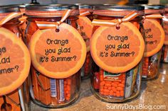 You Glad it's Summer {Gift Idea!} (Sunny Days in Second Grade) Orange You Glad it's Summer {Gift Idea!}Orange You Glad it's Summer {Gift Idea! Orange You Glad, Teacher Gift Baskets, Teacher Gifts, Teacher Presents, Teacher Treats, School Gifts, Student Gifts, Staff Gifts, School Stuff
