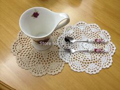 Free ship 100%Cotton Handmade tablecloth 20cm Cup Mats/ Pads 36PCS/LOT Shabby Chic Vintage Look Crocheted Doilies Wedding supply(China (Mainland))