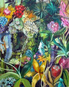 . : Galeria Mezanino : .: André Albuquerque Flower Applique, Rain, Quilts, Flowers, Painting, Mezzanine Floor, Rain Fall, Quilt Sets, Painting Art