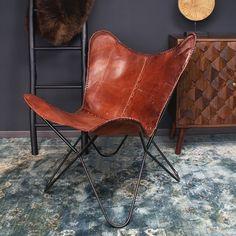 Vlinderstoel Flair cognac leer - Moderne designklassieker