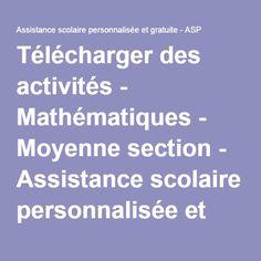 Télécharger des activités - Mathématiques - Moyenne section - Assistance scolaire personnalisée et gratuite - ASP