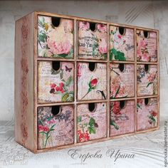 Mini-drawer with flowers. Decoupage.
