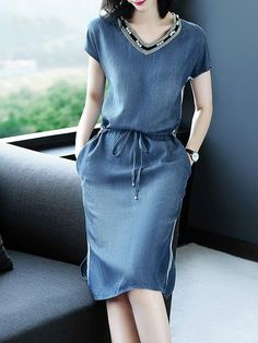 Denim Dress Women Short Sleeve Dress Spring Vintage Vestidos Robe Casual Slim V-neck Office Shirt Jeans Dress - Outfits for Work Trendy Dresses, Women's Dresses, Simple Dresses, Nice Dresses, Casual Dresses, Fashion Dresses, Short Sleeve Dresses, Denim Dresses, Blue Jean Dresses