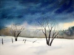Watercolor Painting Snow Scenes | From the land of the Cedars/ Maine watercolors: Winter Scene