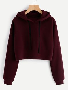 SweatyRocks Burgundy Hooded Drawstring Cashmere Sweatshirt Long Sleeve Casual Pullovers Autumn Women Sweatshirt - How To Be Trendy Girls Fashion Clothes, Teen Fashion Outfits, Girl Outfits, Jugend Mode Outfits, Hooded Sweatshirts, Hoodies, Fashion Sweatshirts, Vetement Fashion, Cute Sweaters