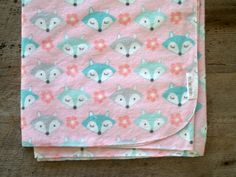 Extra Large Pink and Mint Fox Flannel Baby by yeSweetheart on Etsy