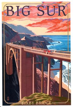 Shop Vintage Big Sur Bixby Bridge USA Tourism Postcard created by made_in_atlantis. Personalize it with photos & text or purchase as is! Big Sur California, Monterey California, Vintage California, California Coast, California Camping, Northern California, National Park Posters, National Parks, Party Vintage