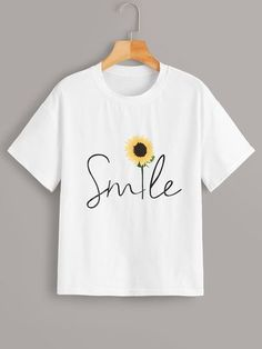 About Sunflower & Letter Print Tee T-shirt T-shirt is Made To Order, we print one by one so we can control the quality. We use DTG Technology to print. Umgestaltete Shirts, Paint Shirts, Cute Tshirts, Shirt Print Design, Tee Shirt Designs, T Shirt Printing Design, Print Print, T Shirt Painting, Tshirt Painting Ideas