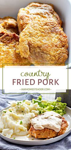 Enjoy pork chops the hearty way! Country Fried Pork is a winner. Crispy fried pork chops are smothered in a smooth homemade gravy for a savory meal everyone will love. An easy recipe with simple ingredients! Add this to your dinner menu ideas! Pork Cutlet Recipes, Easy Pork Chop Recipes, Crockpot Pork Recipes, Country Fried Pork Chops, Homemade Cookbook, Pork Chops And Gravy, Pork Chop Dinner, Pork Cutlets, Baked Pork