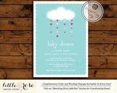 Baby Shower Invitation  Gender Neutral Invite  by LittleRoseStudio