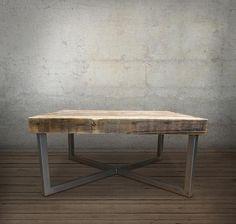 Mid Century Modern Reclaimed Wood Coffee Table, Crossed Steel Legs – JW Atlas Wood Co.