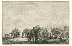 Simon de Vlieger   Vissers op het strand, Simon de Vlieger, 1610 - 1653   Groep van mannen, vrouwen en kinderen op het strand met vismanden en twee karren getrokken door paarden. Achter de duinen een dorp.